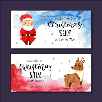Bannières de vente de noël aquarelle et père noël avec rennes