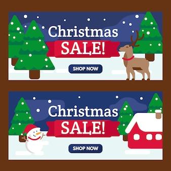 Bannières de vente de noël avec des arbres et des rennes