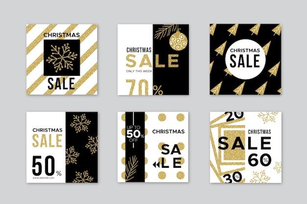 Bannières de vente de noël au design plat