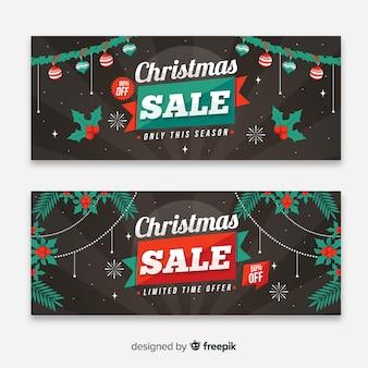 Bannières de vente de noël colorés avec un design plat