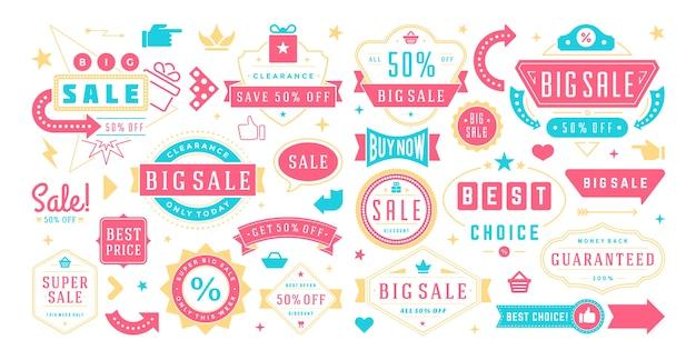 Bannières de vente offres spéciales modèles et ensemble d'éléments de conception autocollants discount