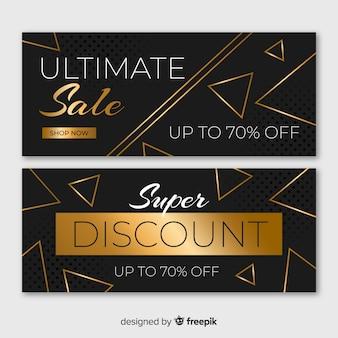 Bannières de vente d'or avec des formes géométriques