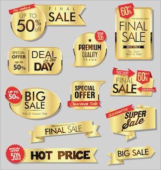 Bannières de vente d'or