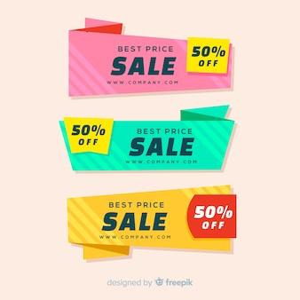 Bannières de vente origami coloré