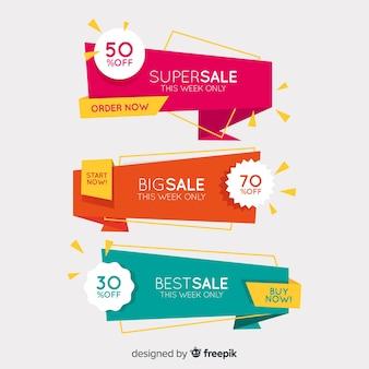 Bannières de vente d'origami