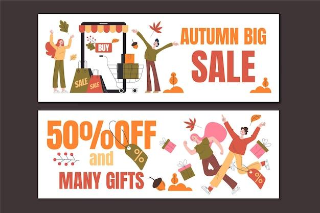 Bannières de vente de personnes d'automne