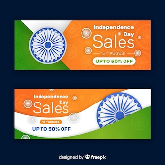 Bannières de vente plat inde jour de l'indépendance