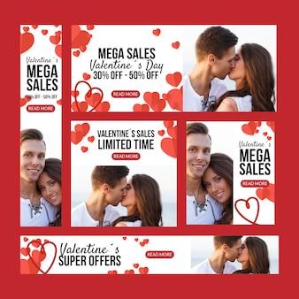 Bannières de vente plat saint valentin avec couple