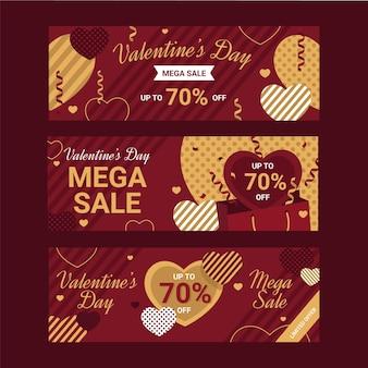 Bannières de vente plat saint valentin