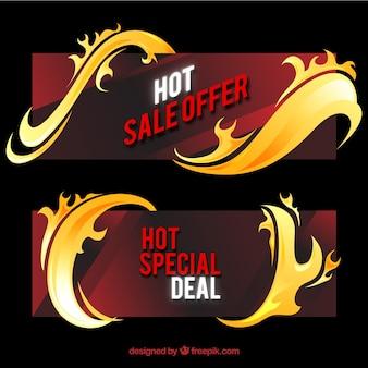 Bannières de vente plate avec des flammes