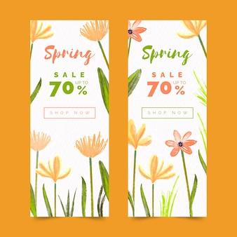 Bannières de vente de printemps aquarelle avec remise