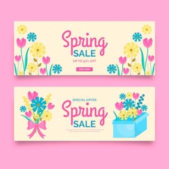 Bannières de vente de printemps au design plat