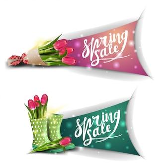Bannières de vente de printemps avec bouquet de tulipes