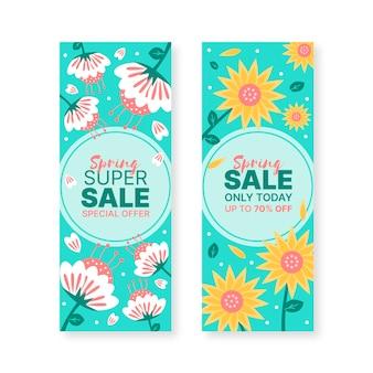 Bannières de vente de printemps dessinées à la main