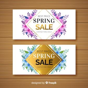 Bannières de vente de printemps dessinés à la main