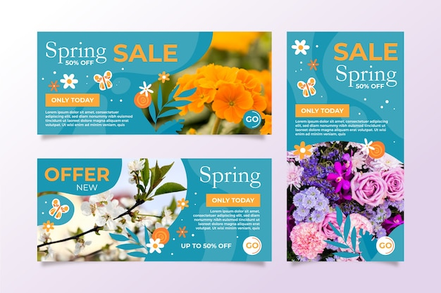 Bannières de vente de printemps avec des fleurs colorées