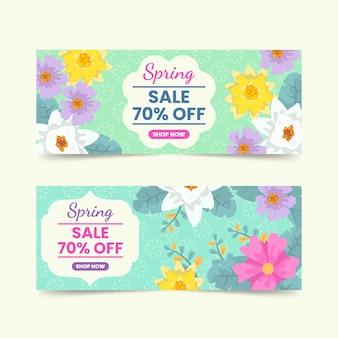 Bannières de vente de printemps avec des fleurs
