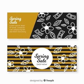 Bannières de vente de printemps noir et or