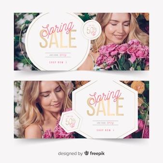 Bannières de vente de printemps avec photo