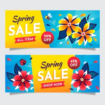 Bannières de vente de printemps plat coloré