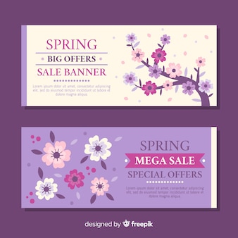 Bannières de vente de printemps plat