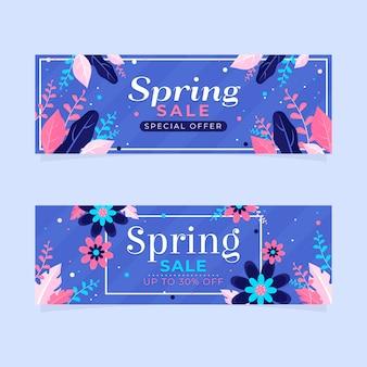 Bannières de vente de printemps avec remise