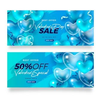 Bannières de vente réalistes de la saint-valentin