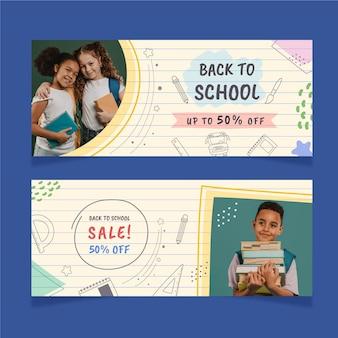 Bannières de vente de retour à l'école avec photo