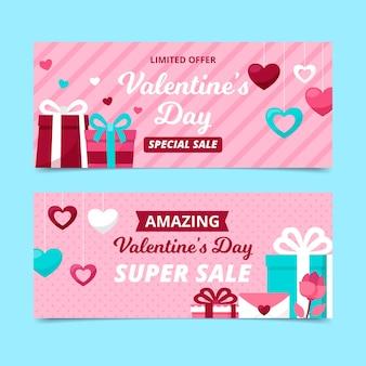 Bannières de vente de la saint-valentin au design plat avec des cadeaux