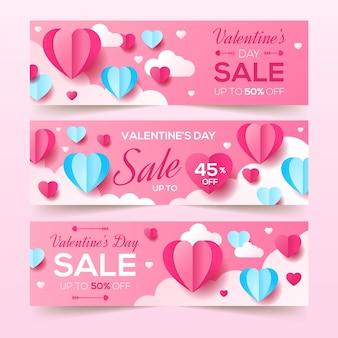 Bannières de vente saint valentin au design plat