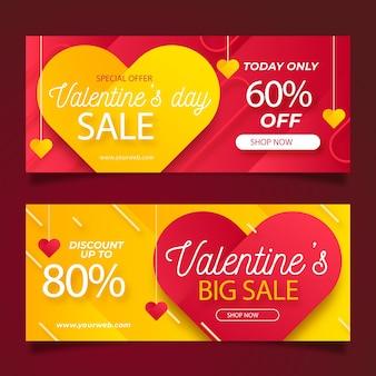 Bannières de vente de la saint-valentin au design plat