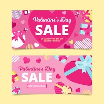 Bannières de vente de saint valentin avec coeurs et cadeaux