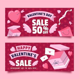 Bannières de vente de la saint-valentin dessinées à la main avec offre