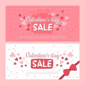 Bannières de vente de la saint-valentin dessinées à la main