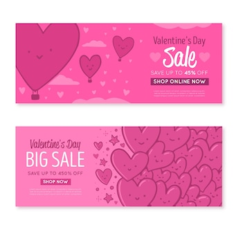 Bannières de vente saint valentin dessinés à la main