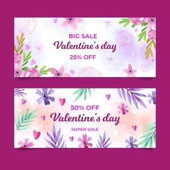 Bannières de vente de saint valentin avec des fleurs