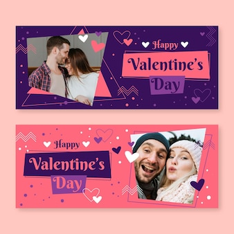 Bannières de vente saint valentin avec jeu de photos