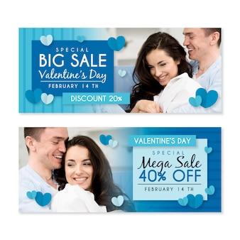 Bannières de vente de la saint-valentin avec offre