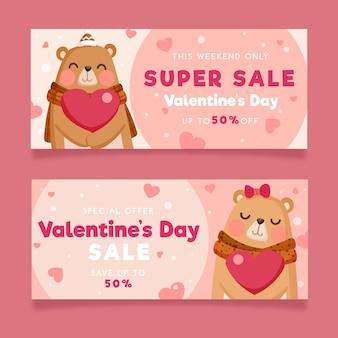 Bannières de vente de la saint-valentin avec des ours
