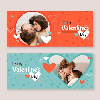 Bannières de vente de la saint-valentin avec photo