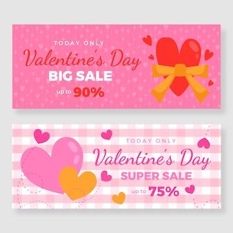 Bannières de vente de saint valentin plat avec des remises