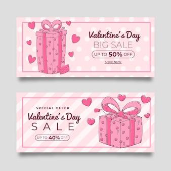 Bannières de vente saint valentin rose dessinés à la main