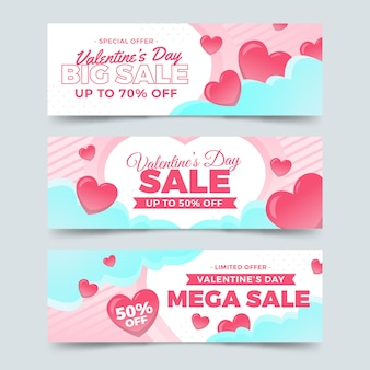 Bannières de vente saint valentin style design plat