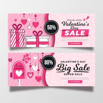 Bannières de vente de la saint-valentin style dessiné à la main