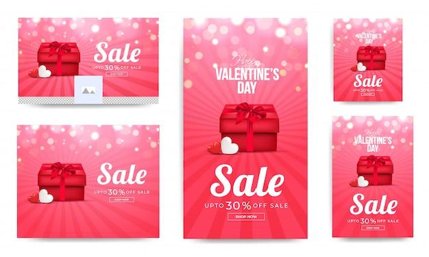 Bannières de vente de saint valentin.