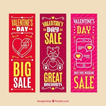 Bannières de vente saint-valentin