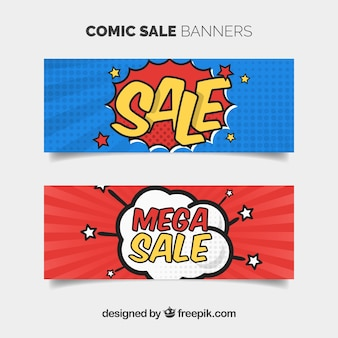 Bannières de vente de style bande dessinée