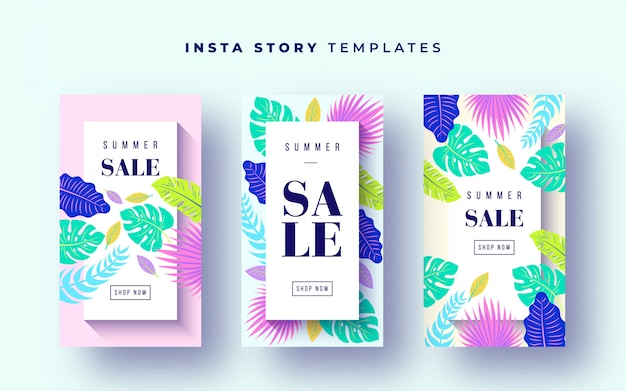Bannières de vente tropicales pour instagram stories