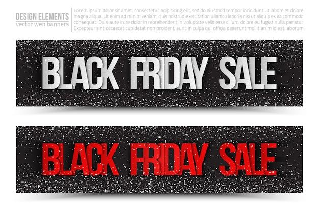 Bannières de vente vendredi noir sur fond blanc