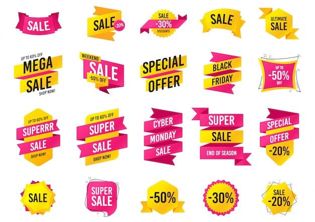 Bannières de vente. vendredi noir, modèles d'offre spéciale cyber lundi.
